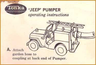 1964 Model 425 Jeep Pumper Instruction Sheet Page 1